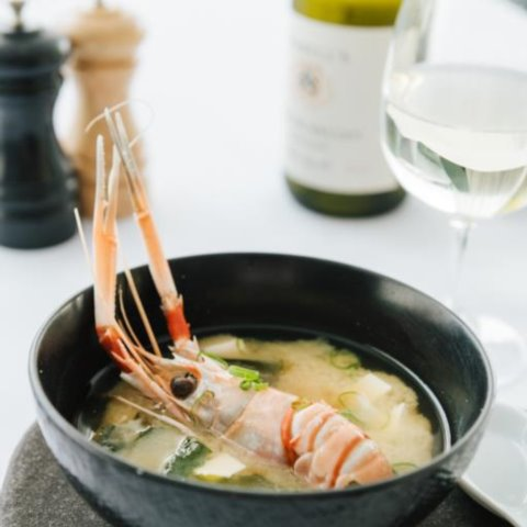 Scampi miso soup